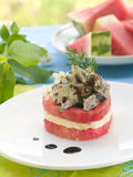 Watermelon appetizer Stock Photos