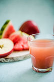Watermelon and apple cold pressed juice Royalty Free Stock Images