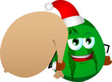 Watermelon as Santa Claus with a big sack Royalty Free Stock Photos