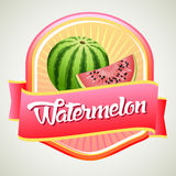 Watermelon badge. For pacakaging or other product Royalty Free Stock Photos