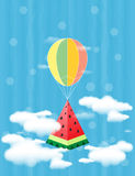 Watermelon in balloon flies in clouds. Element of design for sale promo, web banners. Watermelon abstract background. Concept of Hello Summer. Fruit vector Royalty Free Stock Photography