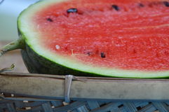 Watermelon on bamboo shallow tray Stock Photo