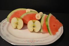 Watermelon, banana,Apple royalty free stock images
