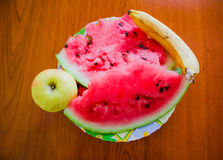 Watermelon with banana and apple Royalty Free Stock Images