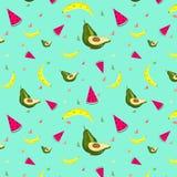 Watermelon_Banana_Avocado样式背景 传染媒介果子 免版税库存照片
