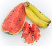 Watermelon and Banana are Fruits cool effects Stock Photo