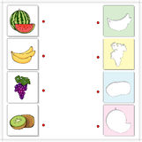 Watermelon, banana, grapes and kiwi. Educational game for kids Royalty Free Stock Photo