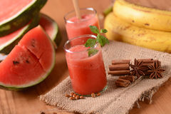 Watermelon and banana smoothie Royalty Free Stock Images