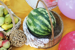 Watermelon in the basket Royalty Free Stock Image