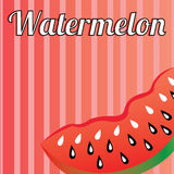 Watermelon. Big sweet watermelon on special red lines background Stock Photography