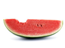 Close up slice watermelon with bite mark isolated on white background. Tropical fruit are sweet, juicy, rich in fiber and vitamins royalty free stock image