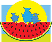Watermelon Blue Birds Stock Image
