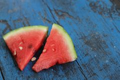 Watermelon. On blue wooden background Stock Photography