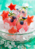 Watermelon and blueberry drink Stock Images