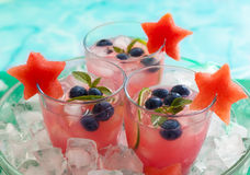 Watermelon and blueberry drink Royalty Free Stock Photos