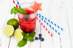 Watermelon blueberry mojito. Patriotic drink cocktail for 4th of July party Stock Photography