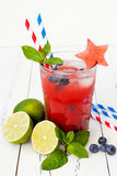Watermelon blueberry mojito. Patriotic drink cocktail for 4th of July party Stock Photos