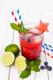 Watermelon blueberry mojito. Patriotic drink cocktail for 4th of July party Royalty Free Stock Photo