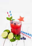 Watermelon blueberry mojito. Patriotic drink cocktail for 4th of July party Royalty Free Stock Images