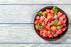 Watermelon and Blueberry Mojito Salad view from above Royalty Free Stock Images