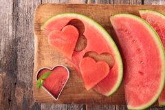Watermelon on board. Top view Royalty Free Stock Images