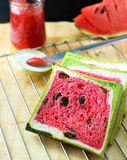 Watermelon bread with strawberry jam. And watermelon Royalty Free Stock Image