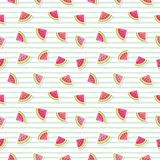 Watermelon bright cute summer pattern background. Raster illustration. Watermelon cute summer pattern background. Raster illustration royalty free illustration