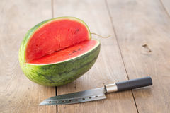 watermelon on brown wooden background Stock Image