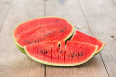 watermelon on brown wooden background Stock Photo