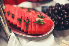 Watermelon on the buffet table Stock Image