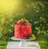 Watermelon cake with fresh summer berries,. Vegan raw food, square image, toned Royalty Free Stock Images