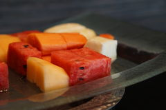 Watermelon and cantalope on the plate. thai fruit. Royalty Free Stock Images