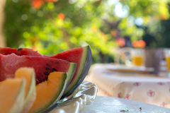 Watermelon and Cantaloupe Melon Slices on Plate Outdoor against Royalty Free Stock Photography