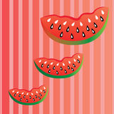 Watermelon. Cartoon watermelon on special red lines background Stock Photography