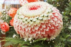 Watermelon carved into flower shapes Royalty Free Stock Images