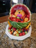 Baby shower fruit bowl stock image