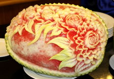 Watermelon carving art Stock Photos