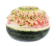 Watermelon Carving Flower on white background Royalty Free Stock Images