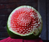 Watermelon carving flowers Stock Photos