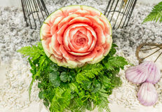 Watermelon carving in the form of flower. Royalty Free Stock Photography