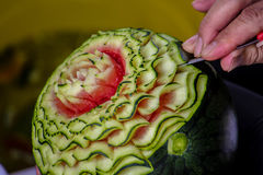 Watermelon Carving with hand thailand Royalty Free Stock Photos