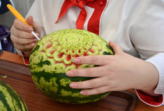 Watermelon carving skill Royalty Free Stock Photos