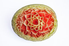 Watermelon carvings. Watermelon fruits and vegetable carving Stock Photos