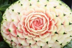 Watermelon carvings in Thai unique skill. Watermelon hand carvings in Thai unique skill Stock Images