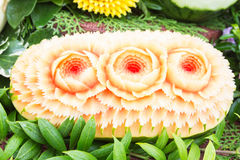 Watermelon carvings in Thai unique skill Royalty Free Stock Photo