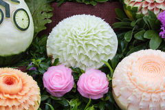 Watermelon carvings in Thai unique skill Royalty Free Stock Photos