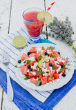 Watermelon and cheese salad Royalty Free Stock Image