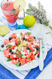 Watermelon and cheese salad Stock Image