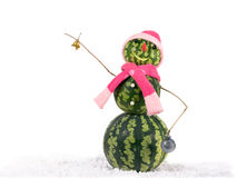 Watermelon christmas snowman with bell and Christmas decorations in pink hat and scarf. Holiday concept for New Years Stock Images