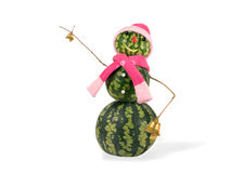 Watermelon christmas snowman with two golden bells in pink hat and scarf isolated. Holiday concept for New Years Royalty Free Stock Photography